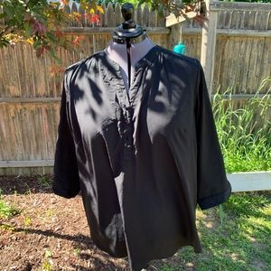 Black Blouse w/Crochet Shoulder Detail - Size 3X